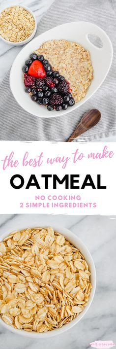The best way to make oatmeal! All about different types of oats, their abundance of health benefits, and my favorite super simple way to prepare them. #oatmeal #oats #vegan #veganoatmeal #veganbreakfast #breakfast #healthybreakfast #porridge #wholegrains #plantbased #wholefoodplantbased #healthyfood Peanut Recipes, Healthy Cookie Recipes, Healthy Baking, Raw Food Recipes, Diet Recipes, Cake Recipes, Dessert Recipes, Cooking Oatmeal, Vegan Oatmeal