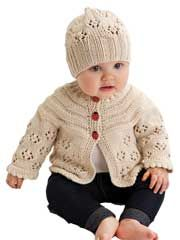 Easy Lace Raglan Jacket & Hat Knit Pattern from Anniescatalog.com -- This adorable knit pattern will keep Baby warm & stylish!
