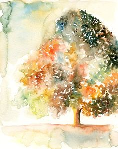 Romantic tree -Landscape painting-Watercolor-Orange autumnal tree-Archival Print from my original watercolor painting 8x10 inch