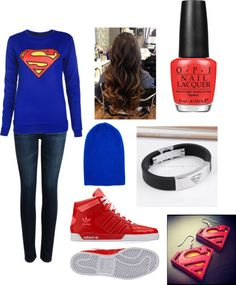 """Krysta's Superman Outfit 3"" by casseag1114 ❤ liked on Polyvore"