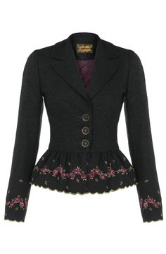 romantic jacket with lovely rose embroidery <3