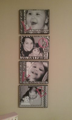 Love!! Made this with canvases, scrapbook paper, ribbon, and photos.