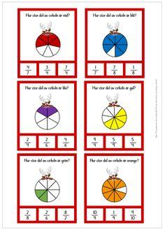 Nypkort med bråk Teaching Schools, Teaching Math, Montessori Math, Task Boxes, Arithmetic, Baby Games, Math Lessons, Pre School, Math Activities