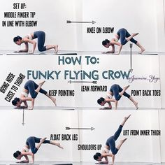 Yoga Poses & Workout : So, this is a good starting point for those of you trying to figure out the flying crow. With the funky set up, is easier to find your balance and thus a higher chance of lifting your back foot. Tips: Bring hand on floor to center … Fitness Workouts, Yoga Fitness, Yoga Inspiration, Style Inspiration, Sup Yoga, Yoga Moves, Yoga Exercises, Pranayama, Yoga Tips
