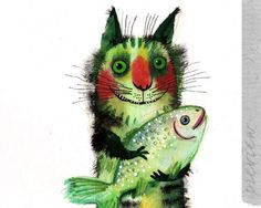 The Cat With a Fish by Nastya Ozozo (Nastassia Atrakhovich)