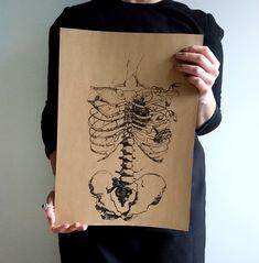 Plakat Szkielet Puszczy  Plakat Szkielet Puszczy.  Polska ilustracja, wykonana metodą druku ręcznego we Wrocławiu.  Jedyny egzemplarz.     #wrocław #paskudtattoo #gothicwallart #skeleton #skelett
