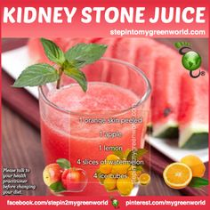 ☛ Try this juice to help with kidney stones.  FOR WHY THIS JUICE HELPS WITH KIDNEY STONES & DETAILS:  http://www.stepintomygreenworld.com/healthyliving/kidney-stone-juice/  ✒ Share | Like | Re-pin | Comment