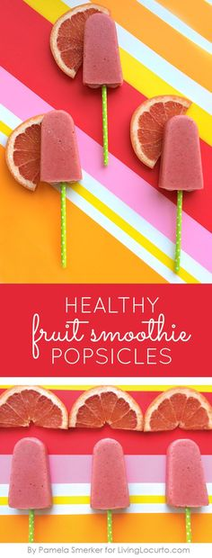 Healthy Fruit Smoothie Popsicles Recipe. These frozen treats are not only good for you, but tasty too! Great use for essential oils. LivingLocurto.com
