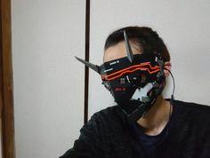 Cyberpunk Clothes, Cyberpunk Fashion, Cyberpunk Art, Futuristic Helmet, Futuristic Art, Japanese Demon Mask, Crow Mask, Arte Robot, Cyberpunk Character