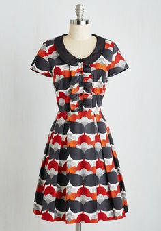 Bonbon Nuit Dress. Set out for a midnight snack in the vintage-inspired vivacity of this collared A-line! #multi #modcloth