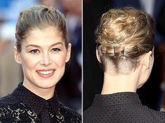 Business in the front, party in the back! Rosamund Pike premiered her newly shaved edgy undercut.