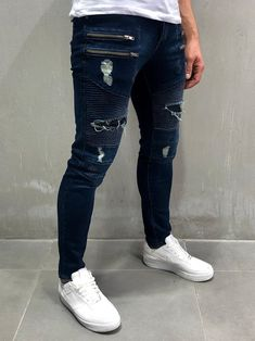 Men Skinny Fit 4Zip Biker Ripped Jeans - Blue 4064 Blue Jeans Outfit Men, Blue Jean Outfits, Blue Jeans Mens, Ripped Jeans Men, Skinny Fit Jeans, Best Smart Casual Outfits, Stylish Mens Outfits, Mens Clothing Styles, Men's Bottoms