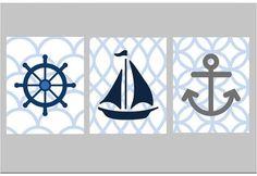 Nautical Nursery Wall Art Set of Three 5x7 prints by LittlePergola, $33.00