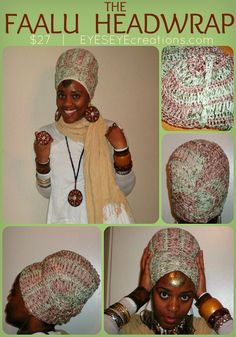 The FAALU HEADWRAP - crochet 100% cotton headwrap for dreadlocks long hair (How-to wrap video included).via Etsy. :: #dreadstop