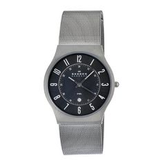 Skagen Men's O233XLSMM Skagen Denmark Grey Steel Watch Skagen. $60.95. Water-resistant to 30 M (99 feet). Quartz movement. Case diameter: 36 mm. Skagen denmark mens watch grey steel watch. Durable mineral crystal protects watch from scratches,. Save 56% Off!