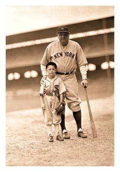 Babe Ruth & The White Sox Bat Boy - Comiskey Park, Chicago - c.1930's