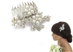 Vintage Look Flower Spray Hair Comb Slide Crystals  Pearls in Silver Tone Bridal