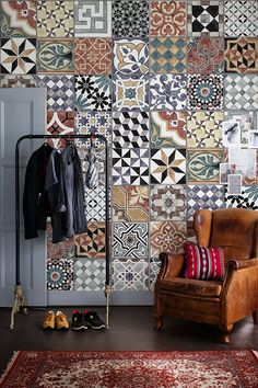 """The wallpaper """"Pattern Tiles"""" showes a beautuful handmade artwork, a patchwork of tiles with lovely colors. Photo Wallpaper, Of Wallpaper, Pattern Wallpaper, Nursery Wallpaper, Wallpaper Ideas, Garage Drawing, Ikea Nursery, Dining Room Design, Tile Patterns"""