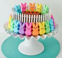 Easter Rainbow Peeps cake  #ExpressYourPeepsonality
