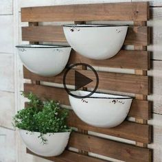 Our Enamel Pot Wall Planter features a fresh and functional design for your wall decor. You'll love its demi-cup design against a rustic wood pallet wall mount! Metal Wall Planters, Diy Wall Planter, Outdoor Wall Planters, Vertical Wall Planters, Vertical Gardens, Wall Hanging Plants Indoor, Indoor Plants, Steel Planter, Vertical Pallet Garden