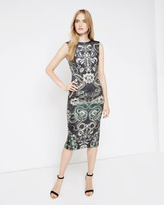 Jewel print midi dress - Black | Dresses | Ted Baker