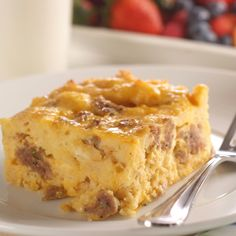 Prep: 15 minutes    Cooking: 70 mins    Level: Easy   Yields: 8 to 10 servings    Put this hearty egg, cheese & sausage casserole into the oven early on a weekend morning & it will be ready by the time the whole family is up. An easy holiday brunch recipe! For extra variation try different cheeses, or add some ham or bacon bits.