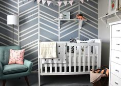 Gender neutral decor ideas we love: Use geometric wallpaper to add depth and visual interest to your baby's room.