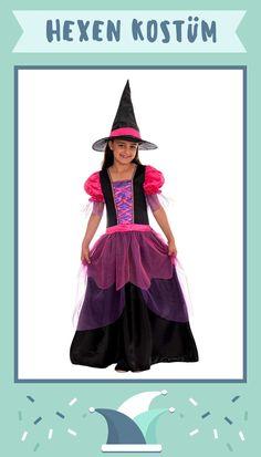 Kostüm Kinderkostüm hübsche Hexe Kleid Gürtel Hut  7-9 Jahre Karneval Fasching