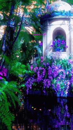 MOVING Purple garden photo gif / - Check out Fairies & Angels>>… Beautiful Gif, Beautiful Flowers, Beautiful Pictures, Gif Bonito, Beau Gif, Foto Gif, Amazing Gifs, Amazing Photos, Glitter Graphics