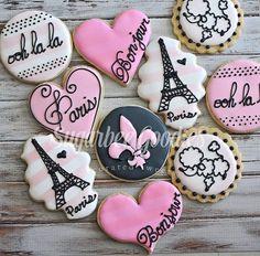 Paris Themed Sugar Cookies 12 by SugarbeeGoodies on Etsy (sugar icing for cookies) Paris Themed Birthday Party, 10th Birthday Parties, Paris Party, Birthday Party Themes, Royal Icing Cookies, Sugar Cookies, Paris Cakes, Paris Themed Cakes, Paris Sweet 16
