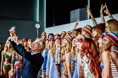 Tommy Hilfiger Women's -  Spring 2016 New York Fashion Week: The Shows - NYFW Spring '16: Tommy Hilfiger takes a selfie with models backstage at the Tommy Hilfiger Women's show during Spring 2016 New York Fashion Week at Pier 36 on September 14, 2015 in New York City.