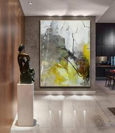 Canvas Painting Landscape, Large Painting, Abstract Wall Art, Painting Abstract, Yellow Painting, Wall Art Designs, Wall Design, Large Wall Art, Art Pictures