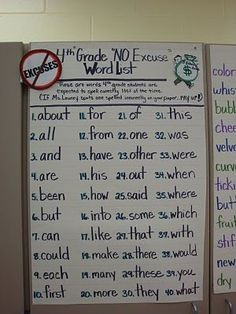 """No Excuses!"" word list-- words they are expected to spell correctly all the time (this list is for 4th grade--make 2nd grade version)"
