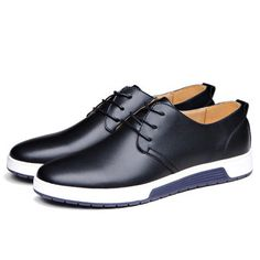 a6d995a095de4 Men Leather Flat Outdoor Casual Lace Up Soft Round Toe Oxfords Sneaker  Shoes - US$50.33