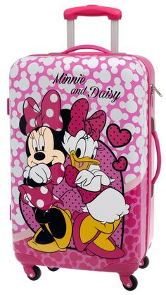 Maleta de viaje mediana Disney Minnie y Daisy original, con cuatro ruedas giratorias Minnie Y Daisy, Mickey Minnie Mouse, Cute Luggage, Kids Luggage, Disney Charm Bracelet, Disney Luggage, Cute Suitcases, Childrens Luggage, Disney Baby Clothes