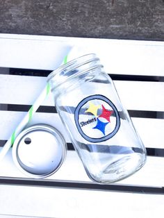 Steelers Football Fans Glass Tumbler with lid by STITCHandCABOODLE, $16.00
