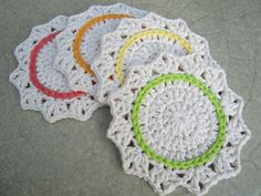 Crochet Coasters,  Hostess Gift,  Set of 4 Cotton Flower Coasters, Crochet Housewares