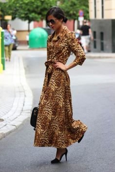 Long, fun animal print dress...