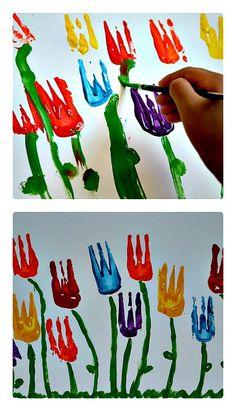 Printmaking: Simple Tulip Printing for kids.