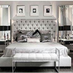This modern glam bedroom uses shiny and lustrous fabrics, metallics and hues of grey, silver and black to create a glamorous and modern bedroom design. Glam Master Bedroom, Home Decor Bedroom, Bedroom Furniture, Bedroom Ideas, Bedroom Inspo, Master Suite, Bedroom Wardrobe, Wood Bedroom, Master Bedrooms