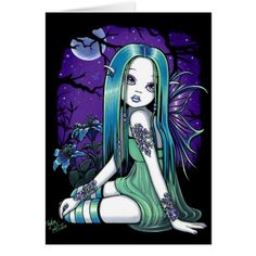 """Shop """"Luna"""" Gothic Moon Lilly Fairy Art Poster created by mykajelina. Personalize it with photos & text or purchase as is! Gothic Fantasy Art, Fantasy Fairies, Fantasy Dolls, Dark Fantasy, Dark Fairies, Elves Fantasy, Gothic Angel, Art Carte, Fairy Pictures"""