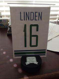 #canucks wedding table numbers #linden #caseyandnate