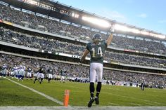 Philadelphia Eagles wide receiver Riley Cooper celebrates after pulling in a touchdown pass against the Dallas Cowboys. Week 10 2012 Season