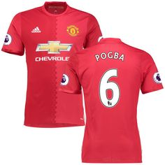 Paul Pogba Manchester United adidas 2016/17 Home Authentic Jersey - Red - $108.74
