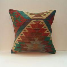 Turkish Kilim Pillow Cover Bohemian Home Decor by PillowsHistoric, $48.00