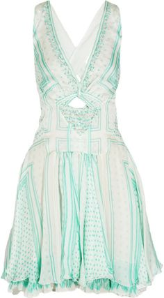 Love this: Printed Embellished Silk Chiffon Dress @Lyst