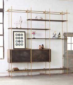 minimal shelving system,shelving,modern,design,brass