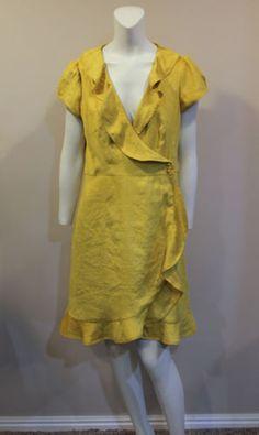 Nanette-Lepore-Yellow-Ruffle-Career-Wrap-Dress-10