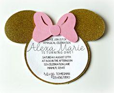 Niñas Minnie Mouse invitación color de rosa y por ExclusiveAllure