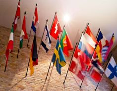 Flags on the wall at the Advanced Organization and Saint Hill Europe // Church of Scientology Copenhagen